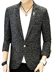 Men's Going out Work Active Spring Blazer,Solid V-neck Long Sleeve Regular Cotton Button
