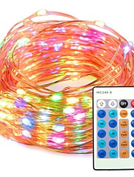 cheap -33ft Multi color Dimmable with Remote Control Waterproof 100 LED String Copper Wire Lights for Party