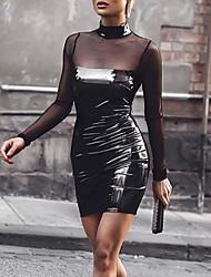 Attillato Vestito Da donna-Serata Sensuale Moda città Tinta unita Collo alto Mini Maniche lunghe PU (Poliuretano) Primavera Autunno A