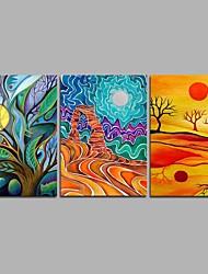 Pintados à mão Ano Novo Modern 3 Painéis Tela Pintura a Óleo For Decoração para casa