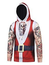 Bonhomme de neige père Noël Sweat à capuche Unisexe Noël Fête / Célébration Déguisement d'Halloween Rouge Rayé Noël