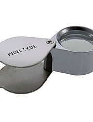 30X 30x21mm Lozenge Folding Jeweler's Eye Loupe Magnifier Magnifying Glass Microscope