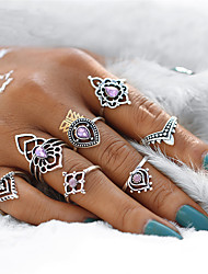 cheap -Women's Rings Set Synthetic Amethyst 7 pcs Silver Crystal Alloy Geometric Drop Flower Vintage Bohemian Elegant Sweet Party Gift Costume