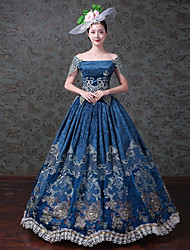 Vintage Rococo Victorian Costume Female Adults' One Piece Dress Party Costume Masquerade Blue Vintage Cosplay Satin/ Tulle Tulle