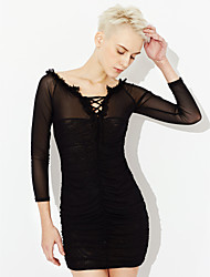 cheap -Women's Club Sexy Bodycon Dress,Solid Off Shoulder Mini Long Sleeves Polyester Spandex Summer Mid Rise Stretchy Thin