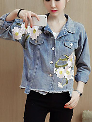 cheap -Women's Daily Going out Street chic Winter Fall Denim Jacket,Floral Print Shirt Collar Long Sleeves Short Polyester