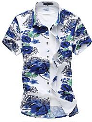 Masculino Camisa Social Casual Tamanhos Grandes Temática Asiática Outono Verão,Floral Poliéster Elastano Colarinho de Camisa Manga Curta