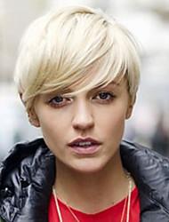 cheap -Women Human Hair Capless Wigs Silver Black Short Straight Side Part