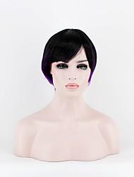 Femme Perruque Synthétique Mi Longue Droite Noir / Violet Au Milieu Perruque Naturelle Perruque Déguisement