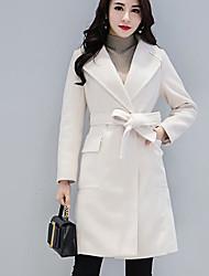 Недорогие -Для женщин Хлопок Зима Пальто V-образный вырез,Простой Однотонный Обычная Длинный рукав,Шерсть Хлопок Акрил