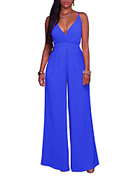 cheap -Women's Going out Sophisticated Jumpsuit - Solid Colored Wide Leg Strap / Deep V / Spring / Summer