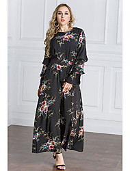 Women's Daily Swing Dress,Floral Print Round Neck Maxi Long Sleeves Polyester Spring/Fall Mid Rise Micro-elastic Medium