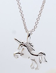 cheap -Women's Horse Sweet Elegant Pendant Necklace Sterling Silver Pendant Necklace , Daily Casual
