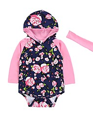 cheap -Baby Girls' Floral One-Pieces, Cotton Winter Spring/Fall Casual Fashion Long Sleeves Blue