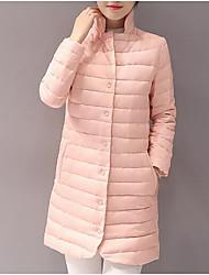Dámské Dlouhý kabát Jednoduchý Běžné/Denní Jednobarevné-Kabát Polyester Dlouhý rukáv