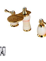 Moderne Vandret Montering Vandfald with  Keramik Ventil To Håndtag tre huller Håndvasken vandhane