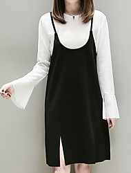 cheap -Women's Daily Going out Casual Fall Blouse Dress Suits,Solid Strap Sleeveless Cotton Polyester