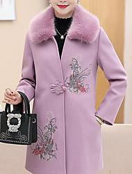 preiswerte -Damen Solide Druck Einfach Ausgehen Lässig/Alltäglich Mantel,Gekerbtes Revers Winter Herbst Langarm Kurz Baumwolle Polyester