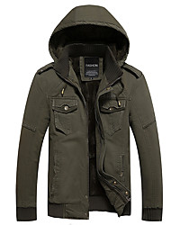Men's Daily Simple Casual Winter Fall Jackets,Solid Hooded Long Sleeves Regular Cotton