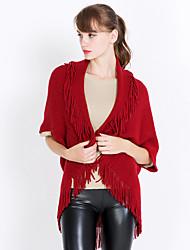 cheap -Women's Knitwear Rectangle Square Triangle Striped Solid Winter Fall Khaki Gray Red Black White