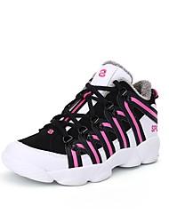 baratos -Mulheres Sapatos Couro Ecológico Inverno Conforto Forro de peles Tênis Sem Salto Ponta Redonda Dedo Fechado Rendado para Casual Ao ar