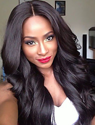 cheap -Women Human Hair Lace Wig Chinese Remy Lace Front Glueless Lace Front 130% Density With Baby Hair Body Wave Wig Black Dark Brown Black