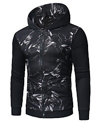 cheap -Men's Simple Casual Coat Print Hooded