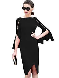 Недорогие -Для женщин Для вечеринок Ночь и особый случай Секси Уличный стиль Облегающий силуэт Оболочка Платье Однотонный,Вырез лодочкой