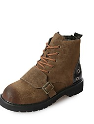 cheap -Women's Shoes PU Winter Comfort Combat Boots Boots Round Toe Mid-Calf Boots for Casual Black Khaki