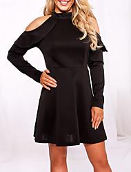 abordables -Femme Gaine Robe - A Volants Mince Sexy, Couleur Pleine Creux Taille Haute