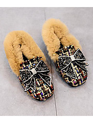 Girls' Shoes Fur Fall Winter Comfort Loafers & Slip-Ons For Casual Dark Brown Coffee Black