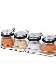 1set Cozinha Aço Inoxidável Vidro Armazenamento de alimentos