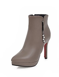 cheap -Women's Shoes Leatherette Fall Winter Fashion Boots Boots Round Toe Booties/Ankle Boots Buckle For Casual Dress Green Red Brown Black