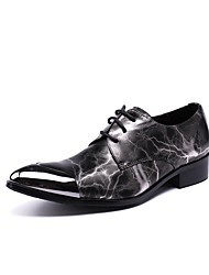 cheap -Men's Shoes Real Leather Winter Fall Formal Shoes Novelty Oxfords Null Null Animal Print For Wedding Party & Evening Gray