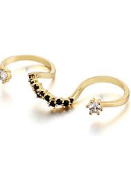 preiswerte -Damen Statement-Ring Kubikzirkonia Gold Silber Zirkon Kupfer versilbert vergoldet Wellen Einfach Grundlegend Modisch Party Ausgehen