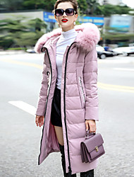 Dámské Dlouhé Dlouhý kabát Jednoduchý Wear to work Běžné/Denní Jednobarevné-Kabát Polyester Long Pant