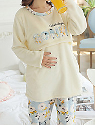 cheap -Women's Suits Pajamas,Animals Cotton Polyester Yellow