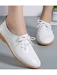 cheap -Women's Shoes Cowhide Spring Fall Comfort Oxfords Walking Shoes Flat Heel Pointed Toe Booties/Ankle Boots Ribbon Tie For Casual Light