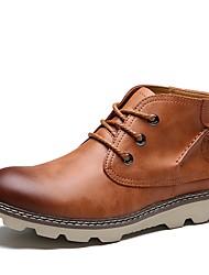economico -Per uomo Fashion Boots Finta pelle Primavera Comoda Sneakers Nero / Marrone