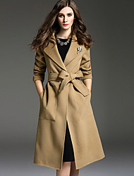 cheap -Women's Going out Street chic Winter Fall Coat,Solid Peaked Lapel Long Sleeves Long Cashmere Polyester Stylish