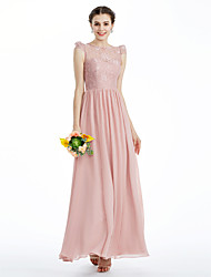 cheap -A-Line Princess Jewel Neck Ankle Length Chiffon Metallic Lace Bridesmaid Dress with Lace Pleats by LAN TING BRIDE®