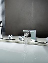 abordables -Robinet de baignoire - Jet pluie Douchette inclue Chrome Diffusion large Trois poignées cinq trous