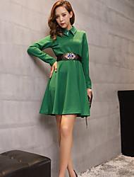 Women's Daily Sheath Dress,Solid Shirt Collar Above Knee Long Sleeve Polyester Winter Fall High Waist Micro-elastic Opaque