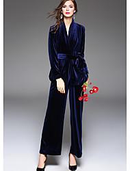 Tee-Shirt Pantalon Costumes Femme,Couleur Pleine Soirée Sexy Hiver Automne Manches longues Col en V Polyester