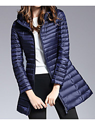 Women's Down Coat,Casual Daily To-Go Solid-Polyester Nylon Long Sleeves