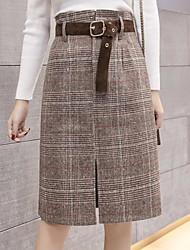 baratos -Mulheres Moda de Rua Lápis Saias - Xadrez