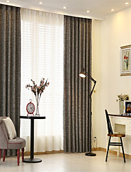 cheap -Rod Pocket Grommet Top Tab Top Double Pleat Curtain Formal Casual Modern, Jacquard Solid Bedroom Polyester Blend Material Curtains Drapes