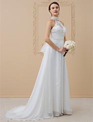 cheap -A-Line Princess High Neck Sweep / Brush Train Chiffon Metallic Lace Wedding Dress with Appliques Bow(s) Lace Sash / Ribbon Sashes/ Ribbons