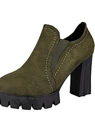baratos -Mulheres Sapatos Micofibra Sintética PU Outono Coturnos Botas Ponta Redonda Botas Curtas / Ankle Elástico para Preto / Verde
