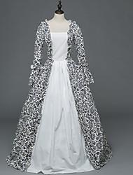 Victorien Rococo Féminin Adulte Costume de Soirée Bal Masqué Blanc Cosplay Satin Stretch Manches Longues Longueur Sol